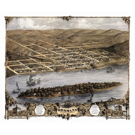 Antique Map of Hermann Missouri 1869 Gasconade County Poster Print