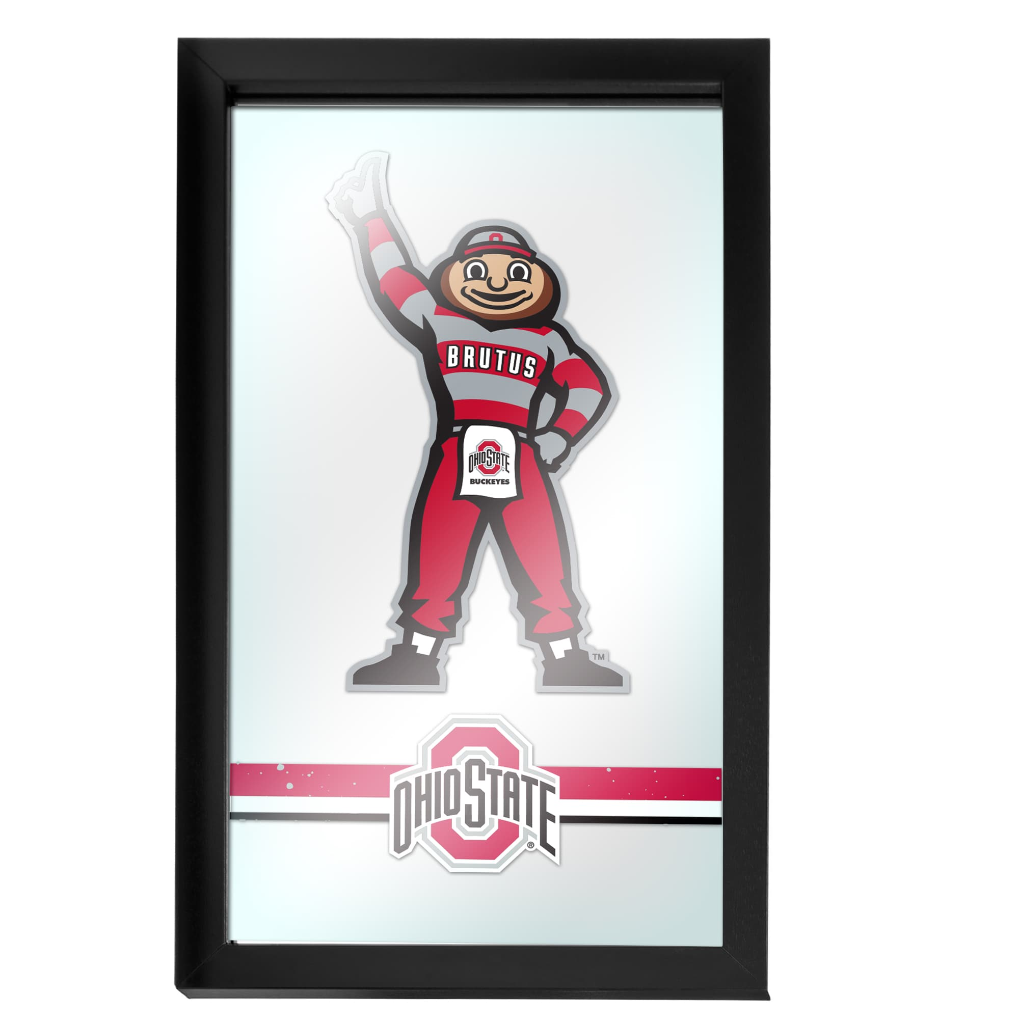 Trademark Gameroom Ohio State Stripe Brutus Framed Logo Mirror