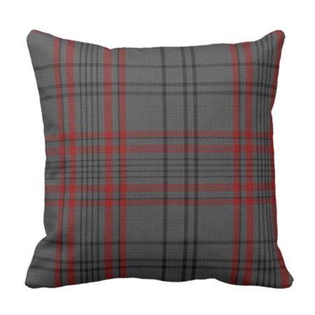 ARTJIA Dark Gray Charcoal Black Red Tartan Plaid Pillowcase Throw Pillow Cover 20x20 inches ()