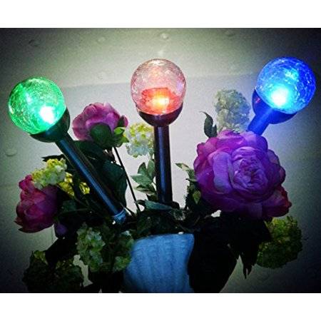 Crackle Glass Globes (3Pack 3Color Crackle Glass Globe Solar Light,Solar Pathway Light,Set)