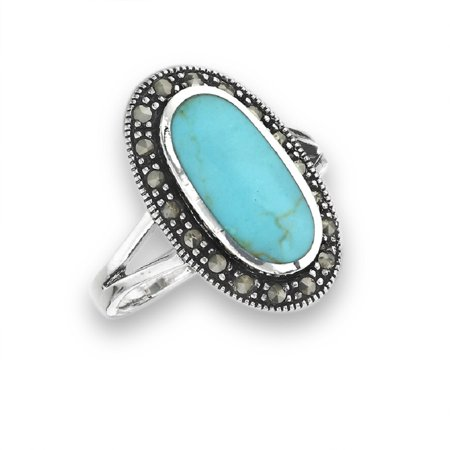 New .925 Sterling Silver Turquoise Blue Marcasite Fashion Ring - Sizes -