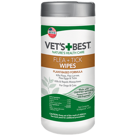 Vet's Best Flea and Tick Wipes for Dogs and Cats, 50 (Best Flea Bombs)