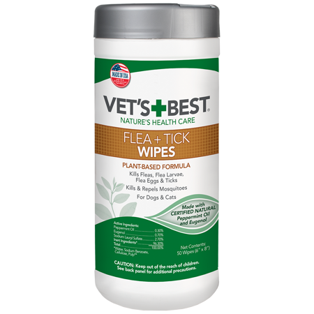 Vet's Best Flea and Tick Wipes for Dogs and Cats | Targeted Flea & Tick Application | Multi-Purpose Flea Treatment for Dogs and Cats | 50