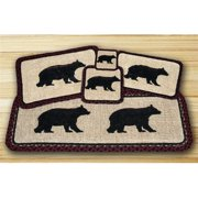 Earth Rugs 84-395CB Wicker Weave Trivet, Cabin Bear,