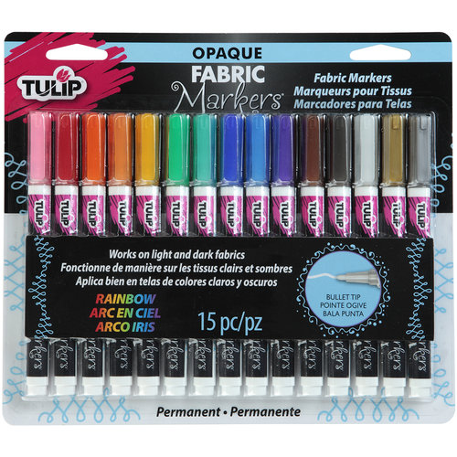 Tulip Opaque Fabric Markers, 15pk, Assorted
