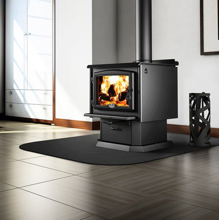 Osburn 2300 Wood Stove w/Blower, Black Overlay and Pedestal