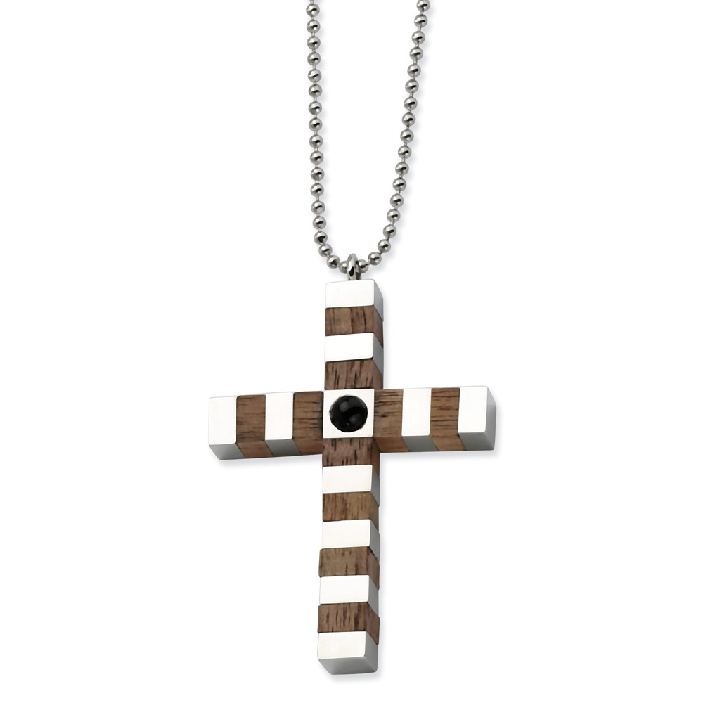 Stainless Steel & Wood Cross 22in Necklace (22in long)