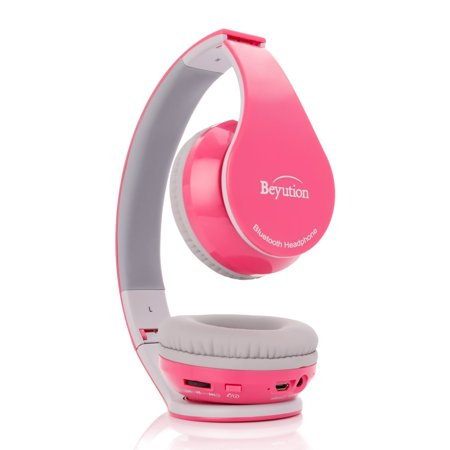 Beyution Wireless Bluetooth Headphones Over-ear HiFi Stereo Headset Built in Mic-phone Sport Over Head earphones for Android Samsung iPhone Smartphones-Pink