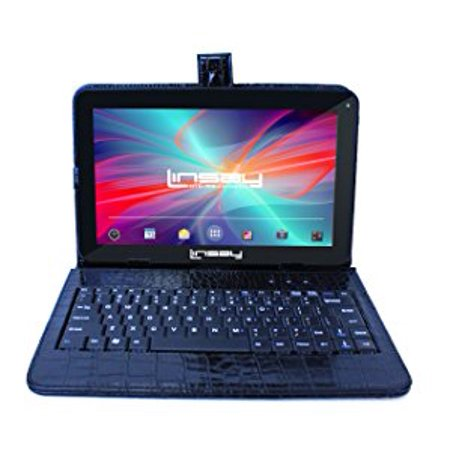 "LINSAY 10.1"" Tablet 2 GB RAM 16 GB Android 9.0 Exclusive Luxury Bundle with Black Crocodile Style Keyboard"