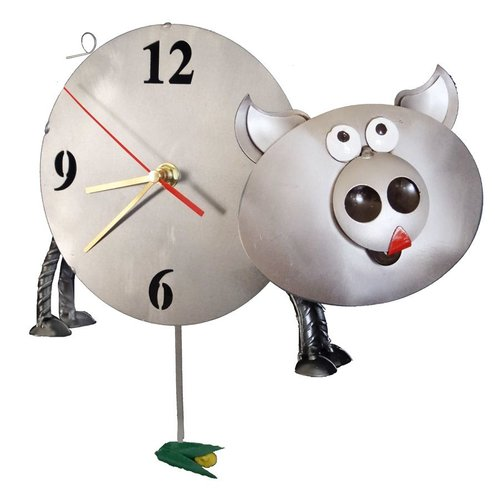 H & K SCULPTURES Pig Pendulum Clock