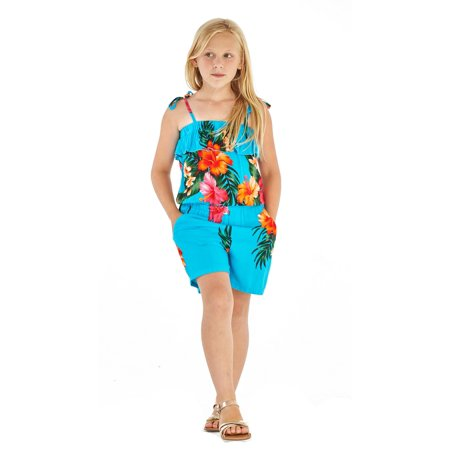 - Girl Hawaiian Elastic Ruffle Romper in Hibiscus Floral Colorful in Turquoise Size 2