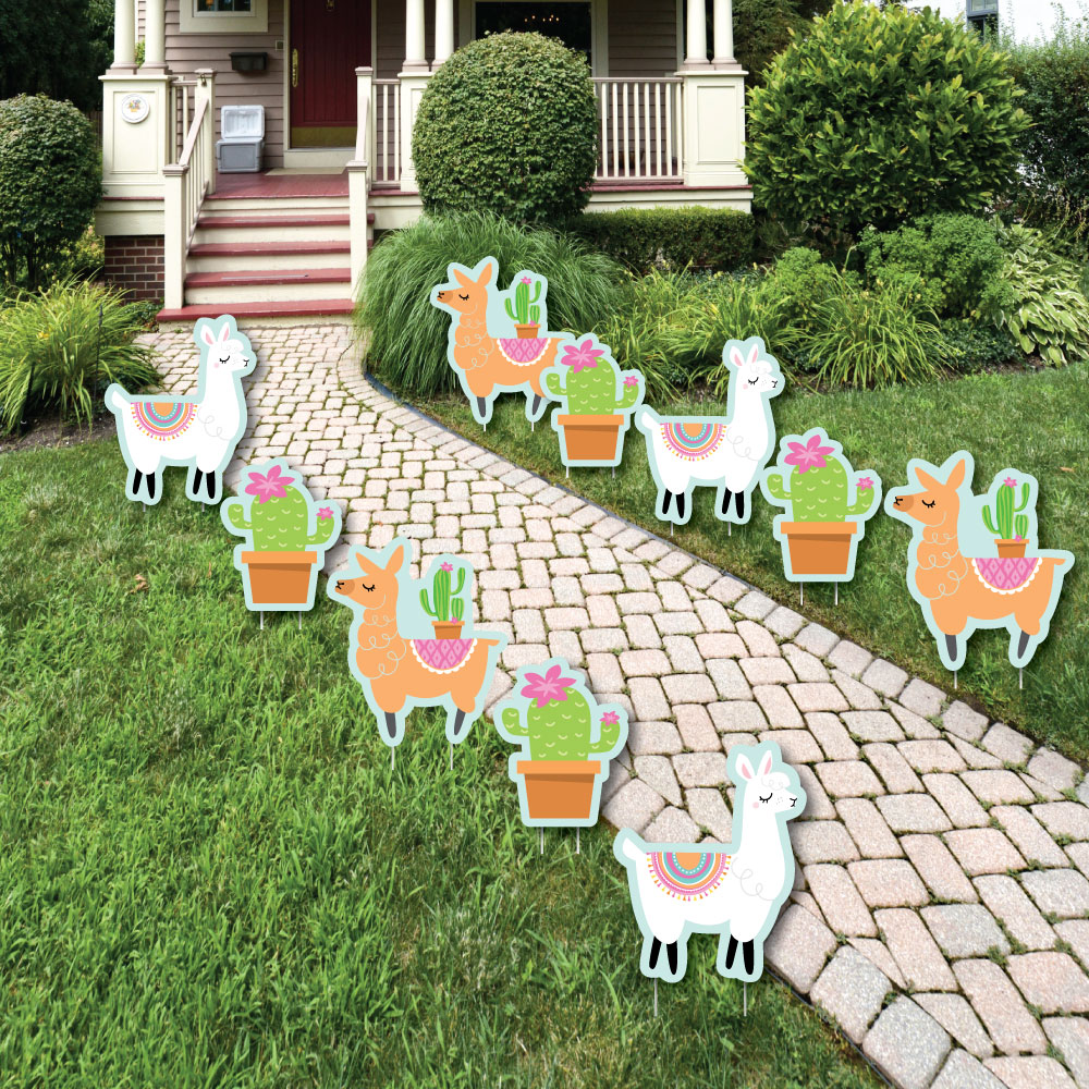 Whole Llama Fun - Lawn Decorations - Outdoor Llama Fiesta Baby Shower or Birthday Party Yard Decorations - 10 Piece