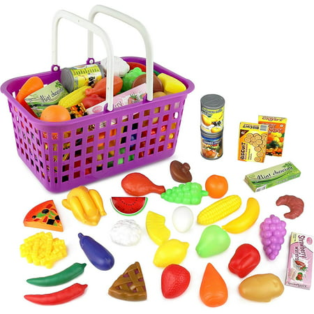 Click n' Play 33 Pc. Kids Pretend Play Grocery Shopping Play Toy Food Set, Fruit and Vegetable with Shopping Basket - Halloween Themed Food For Kids