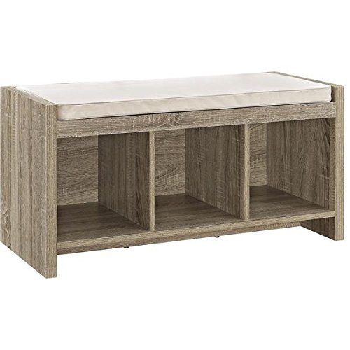 Avenue Greene Furniture Sonoma Oak Entryway Storage Bench With Beige  Cushion, 3) Open Cubbies