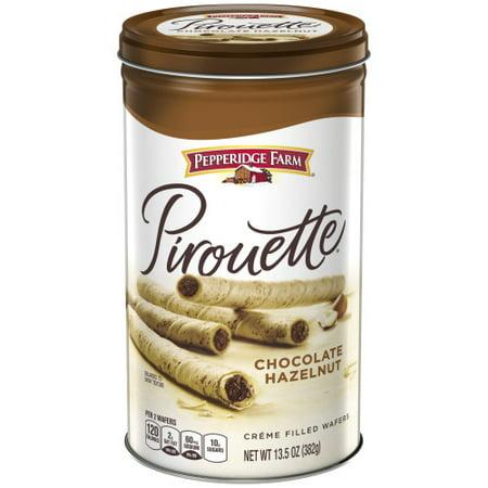 Large Cookie Tin - Pepperidge Farm Pirouette Crème Filled Wafers Chocolate Hazelnut Cookies, 13.5 oz. Tin