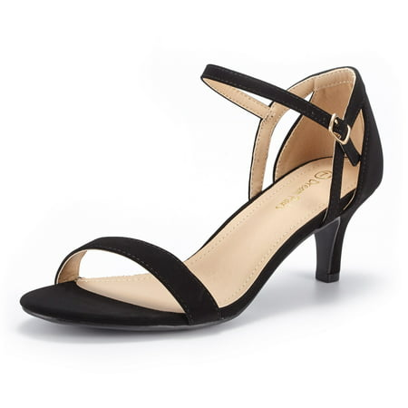 Dream Pairs Women's Low Stilettos Heel Sandals Ankle Strap Work Dress Shoes Lexii Black/Nubuck Size 5