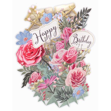 Paper d'Art Flowers Happy Birthday 3D Pop Up Greeting Card (Other) Happy Birthday Car