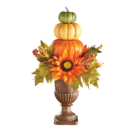 Harvest Pumpkin Topiary  Fall Tabletop  Décor, Indoor Home Accents Mantelpiece