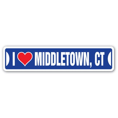 I LOVE MIDDLETOWN, CONNECTICUT Street Sign ct city state us wall road décor gift
