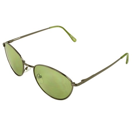 Retro Oval Fashion Sunglasses Black Frame Green Lenses for Women and Men ()