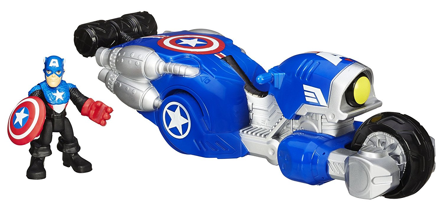 Heroes Marvel Super Hero Adventures Shield Bike Vehicle with Captain America Action Figure, 2-pack includes... by
