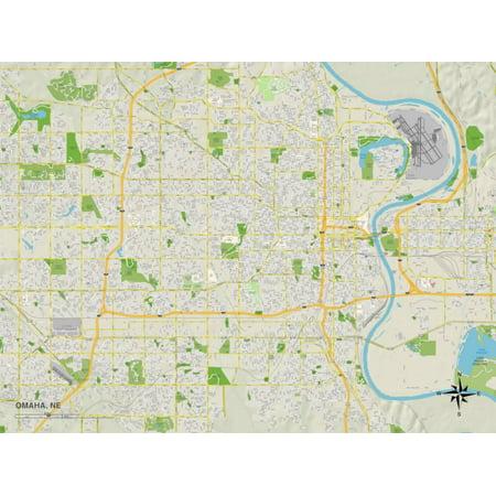 Political Map of Omaha, NE Print Wall Art