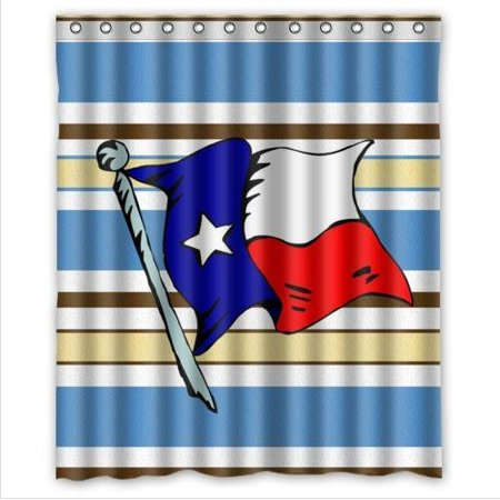 Hellodecor Texas State Flag And Blue And Brown Stripe Shower Curtain Polyester Fabric Bathroom