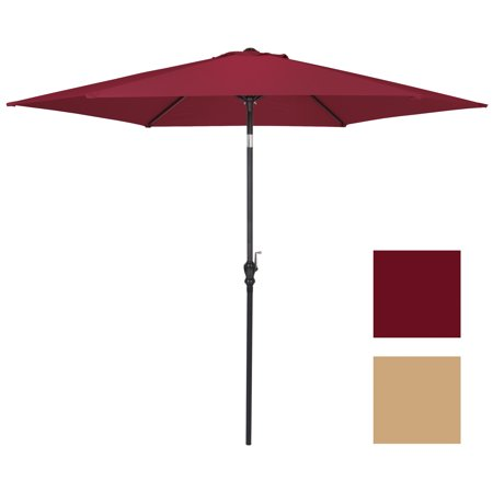 Best Choice Products 10-foot Outdoor Table Compatible Steel Polyester Market Patio Umbrella with Crank and Easy Push Button Tilt, Burgundy