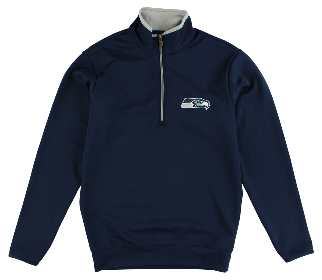 Antigua Mens Seattle Seahawks Leader Pullover Quarter Zip Jacket Navy Blue by