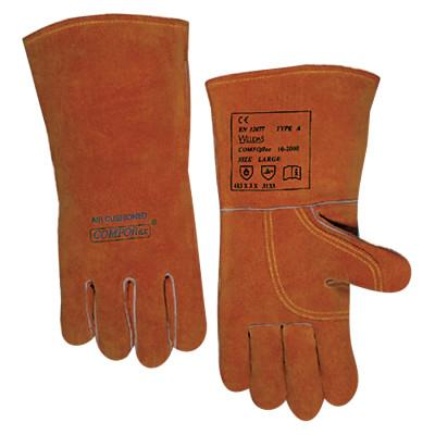 Premium Leather Welding Gloves, Split Cowhide, Large, Buck Tan