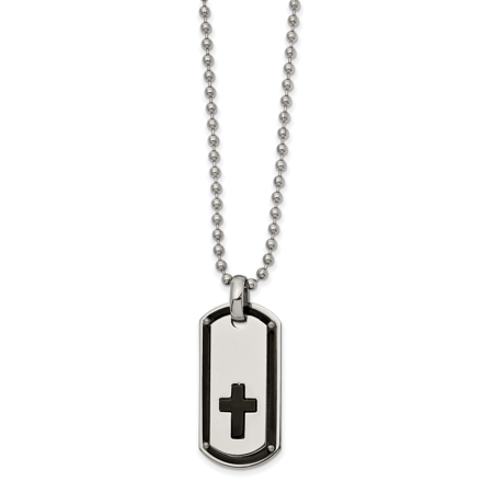 Stainless Steel Polished Black IP plated Cross Dog tag