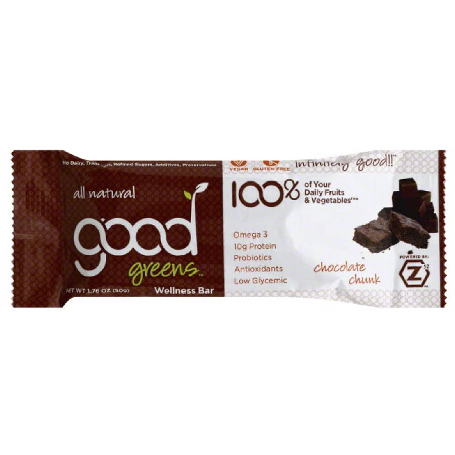 Good Greens Chocolate Chunk Wellness Bar, 1.76 oz, (Pack of 12)