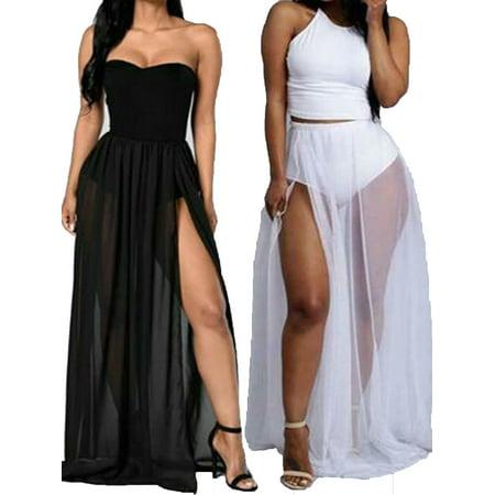 Women Bikini Cover Up Swimwear Sheer Beach Maxi Wrap Skirt Sarong Pareo Dress