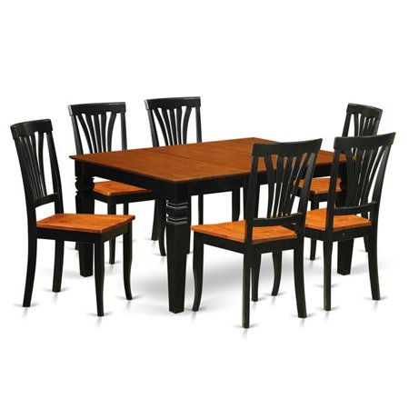 Swell Kitchen Set With 1 Weston Kitchen Table Six Solid Wood Chairs Elegant Black 7 Piece Ibusinesslaw Wood Chair Design Ideas Ibusinesslaworg
