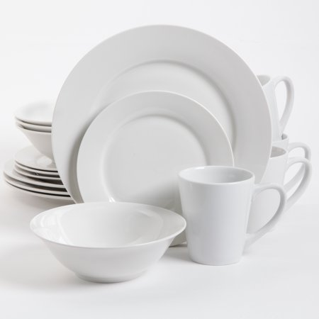 Noble Court 16 Piece Dinnerware Set - White - Fine Ceramic (White 16 Piece Set)