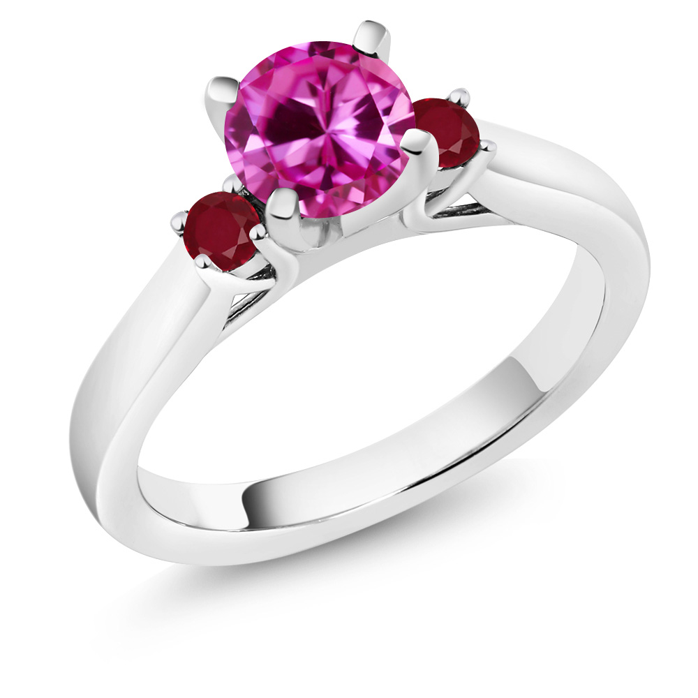 1.24 Ct Round Pink Created Sapphire Red Ruby 18K White Gold Engagement Ring by