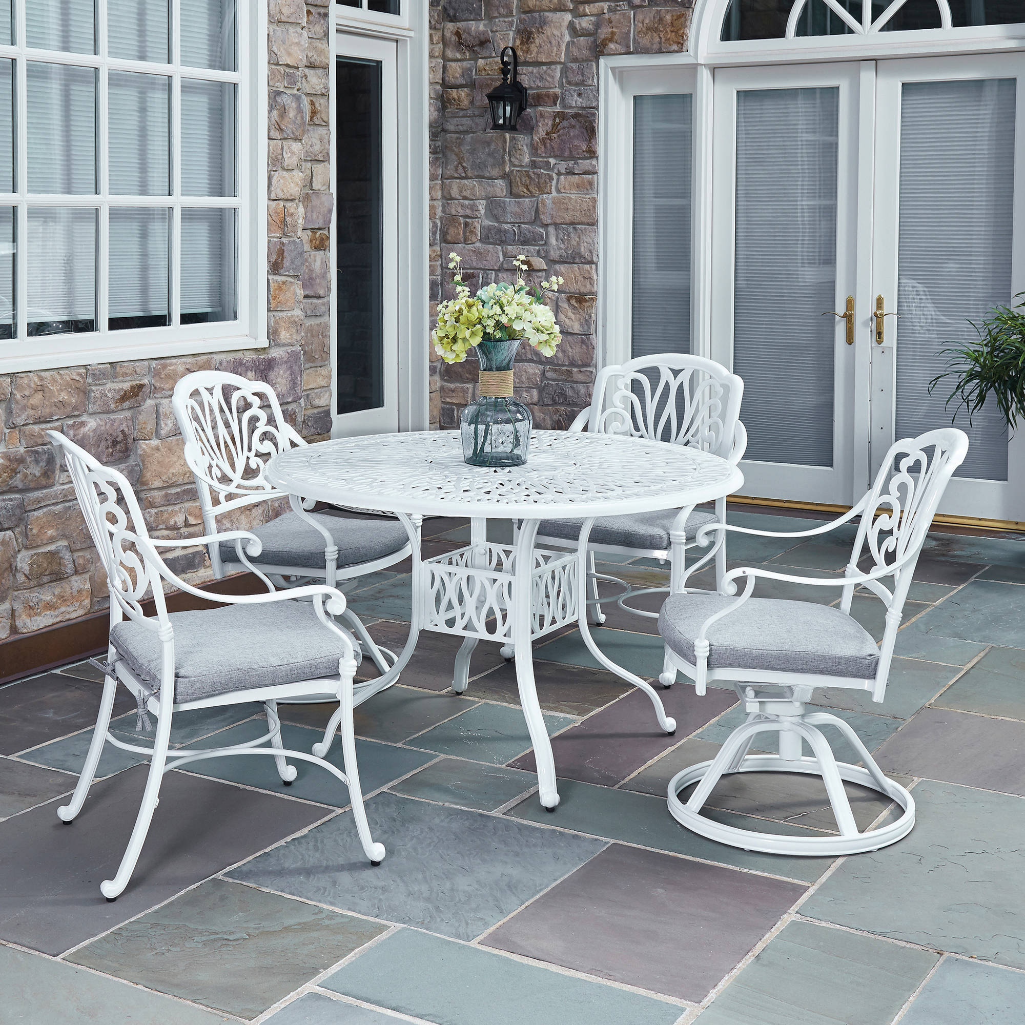 Floral Blossom 5-Pc Patio White Dining Set