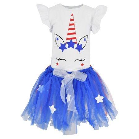 Girls 4th of July Unicorn 2 Piece Outfit with Tutu (7/XXL, Blue)