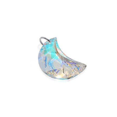 Gem Avenue Sterling Silver Half Moon Clear AB Crystal 2 x 12mm Pendant with Swarovski Elements