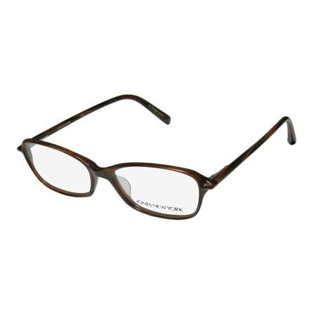 New Jones Ny J707 Mens/Womens Designer Full-Rim Brown / Horn Trendy Affordable Light Style Frame Demo Lenses 51-15-135 Spring Hinges Eyeglasses/Eyeglass (Trendy Eyeglasses For Men)