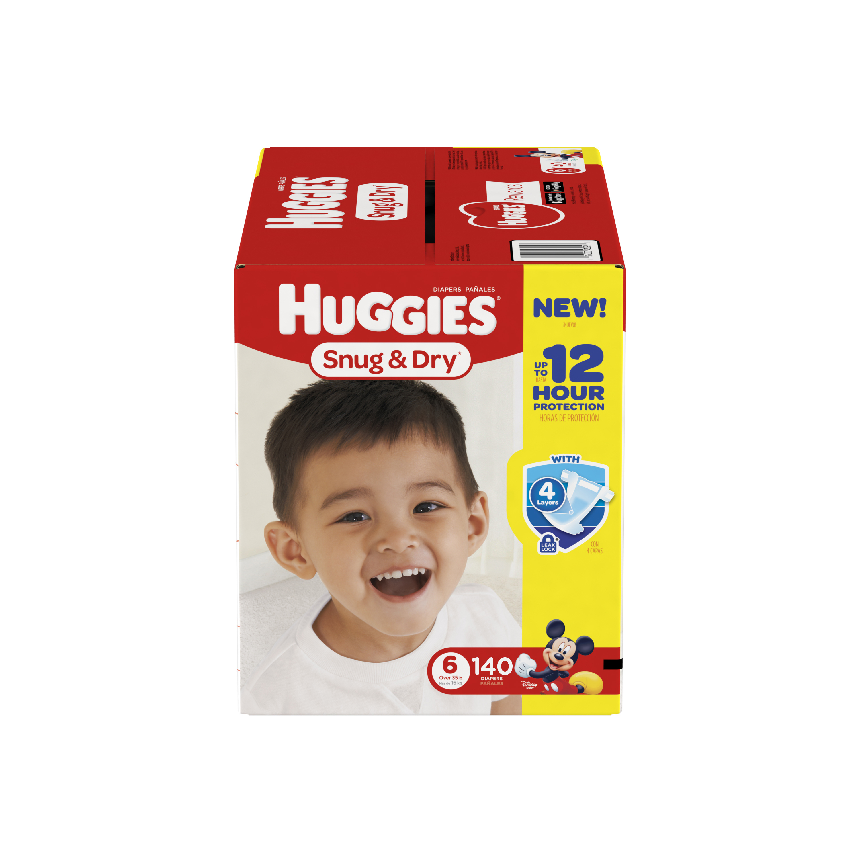 HUGGIES Snug & Dry Diapers, Size 6, 140 Diapers