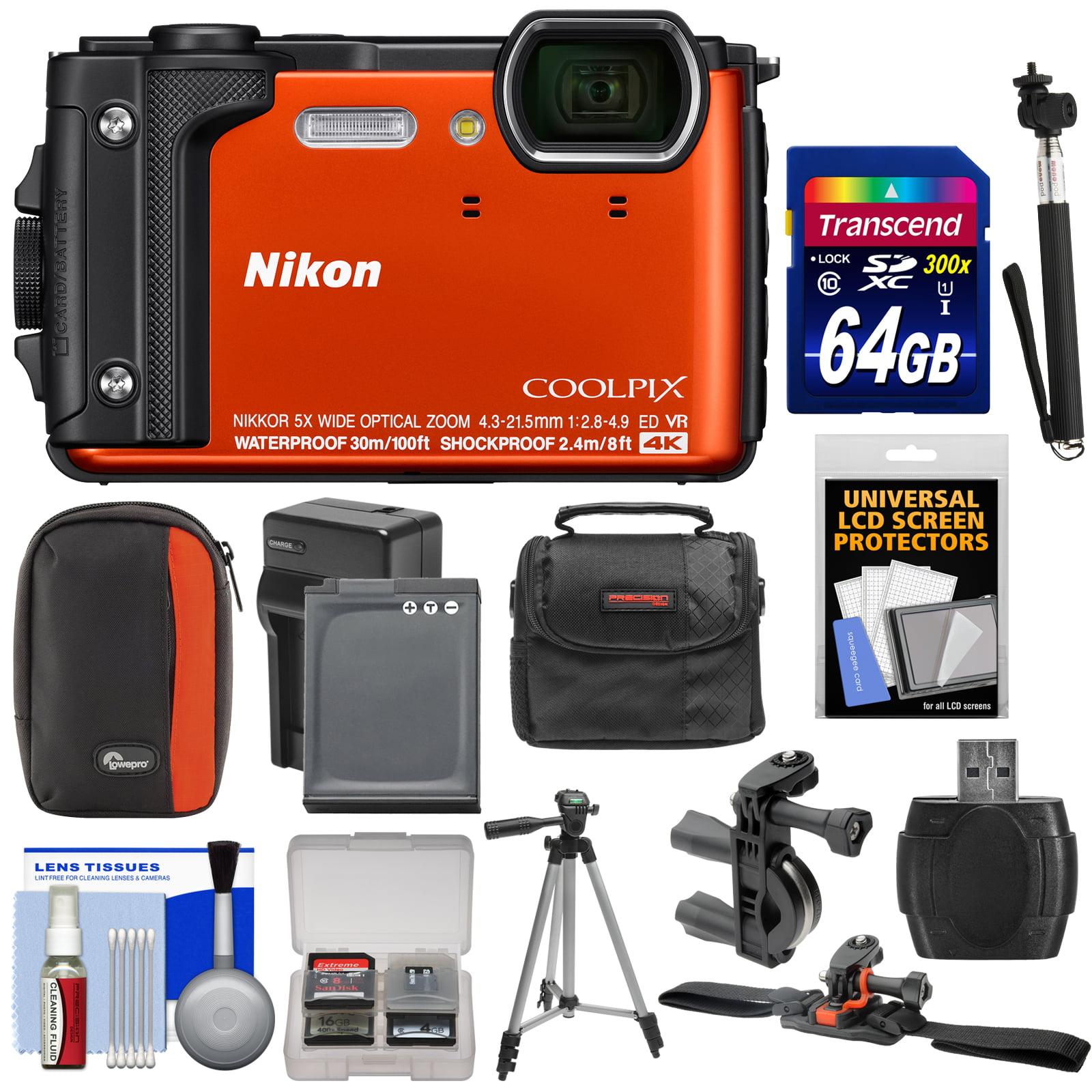 Nikon Coolpix W300 4K Wi-Fi Shock & Waterproof Digital Camera (Orange) with 64GB Card + (2) Cases + Battery & Charger + Tripod + Handlebar & Helmet Mounts + Kit