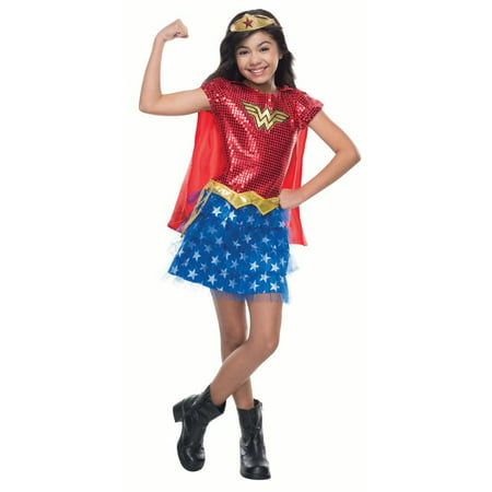 Wonder Woman Sequin Child Halloween Costume, Small (4-6)