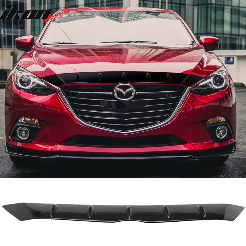 14-16 Mazda 3 Mazda3 FHS Style Painted Matte Black Front Hood Cover - ABS