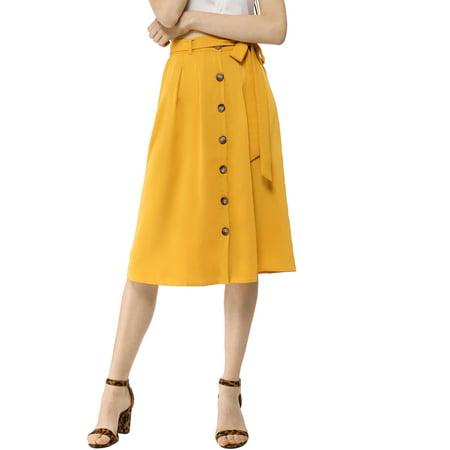 Women's Button Front High Waist Belted Flare Skirt Yellow (Size XL / -