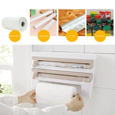 Wall Mounted 4 In 1 Muti Function Paper Towel Roll Holder Plastic Warp Tin Foil Dispenser With Cutter