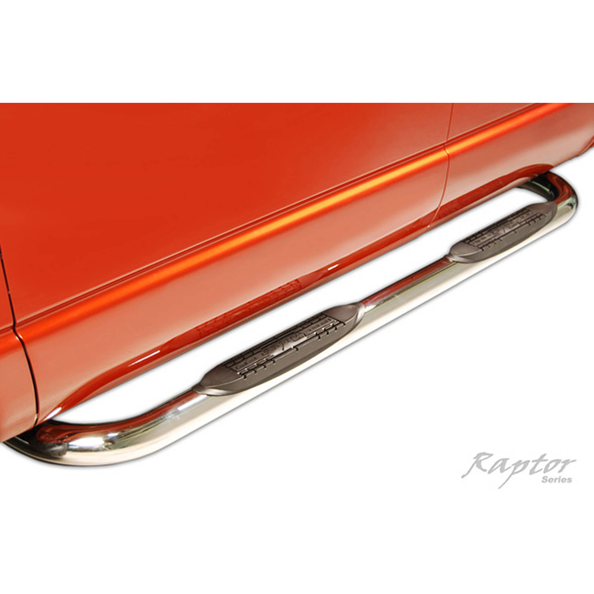 "Raptor Series 00-04 Dodge Dakota Quad Cab 3"" Round Side Steps, Stainless Steel"