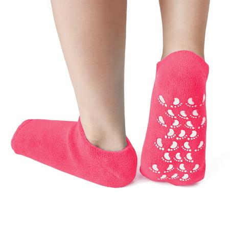 1 Pair Soften Dry Skin Moisturising Exfoliating Non-slip Gel Socks Magenta - image 6 of 6