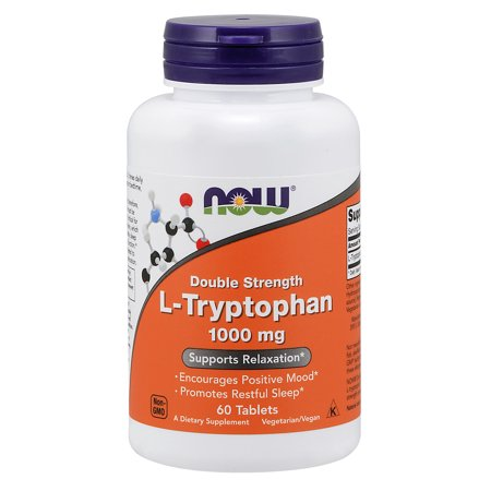 NOW Supplements, L-Tryptophan, Double Strength 1000 mg, 60 Tablets (Thyroid Strength 60 Tablets)