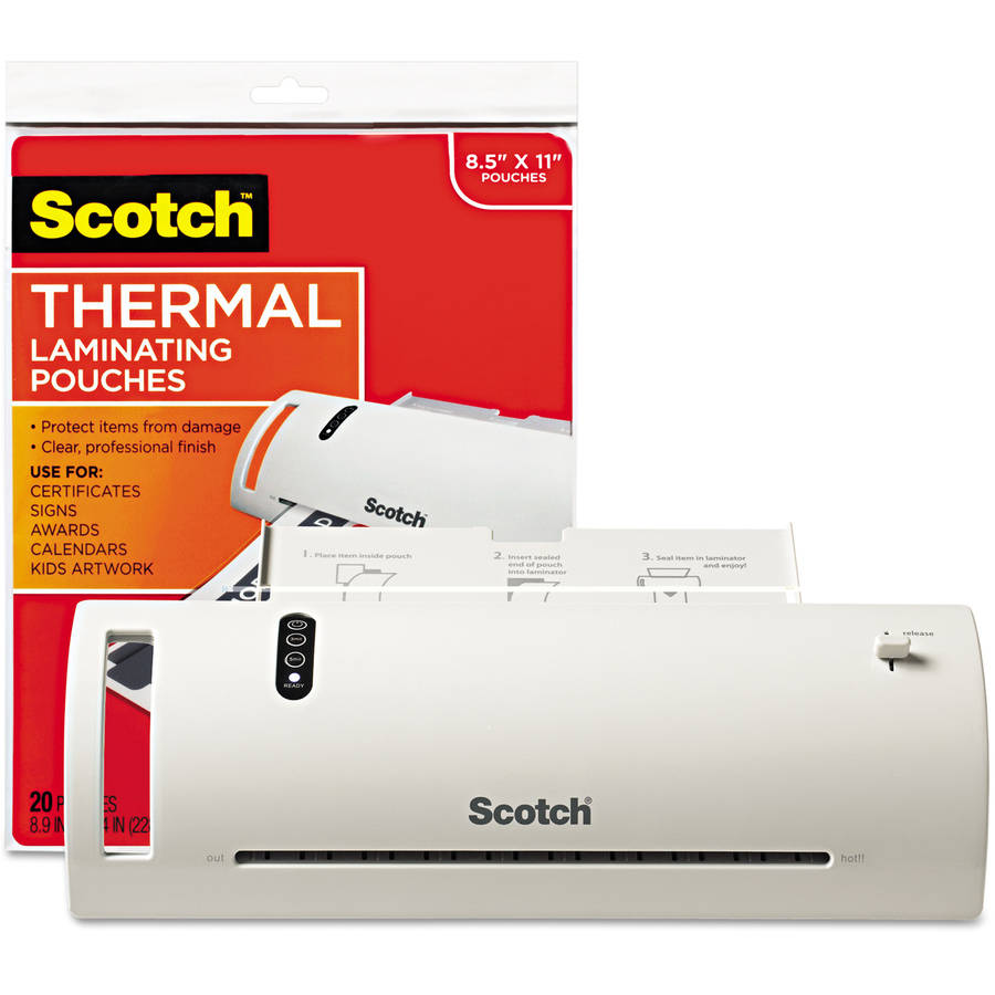 """Scotch 9"""" Thermal Laminator Value Pack, with 20 Letter-Size Pouches"""